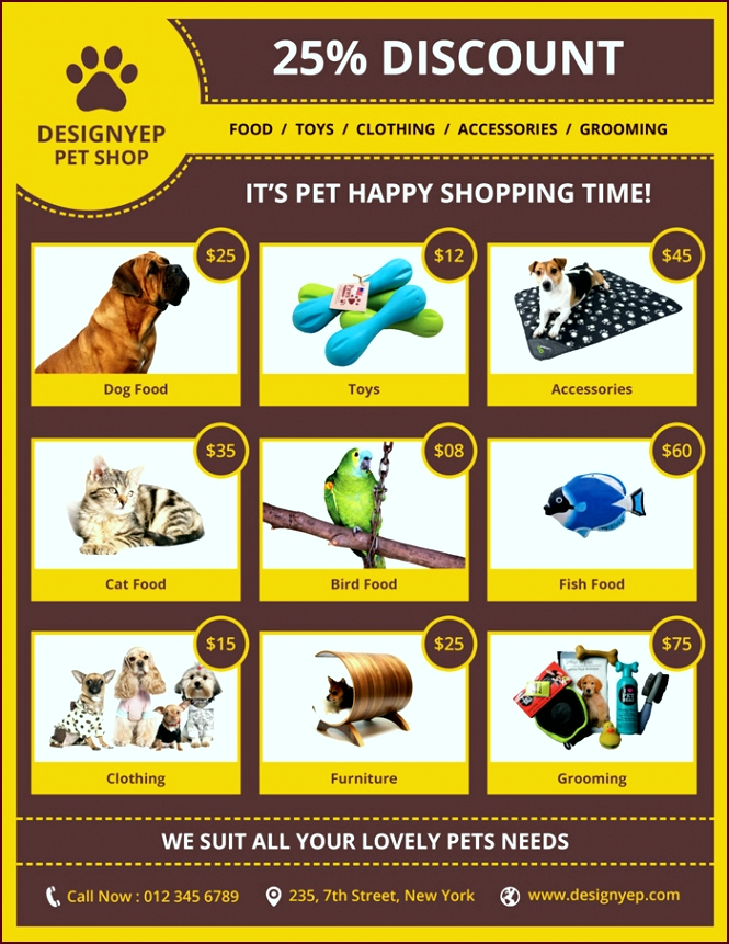 Free Pet Shop Flyer PSD Template ipaip