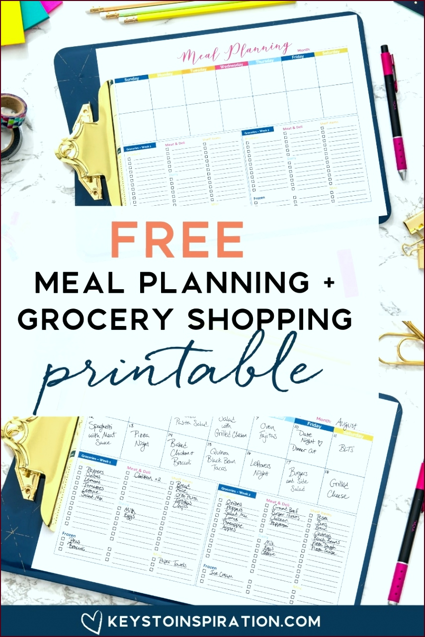 Free Meal Planning and Grocery Shopping Printable 1 auuit