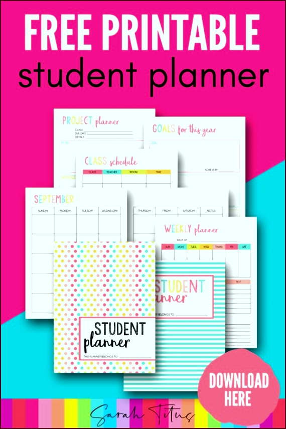 free printable student planner 46 pages iuyoi