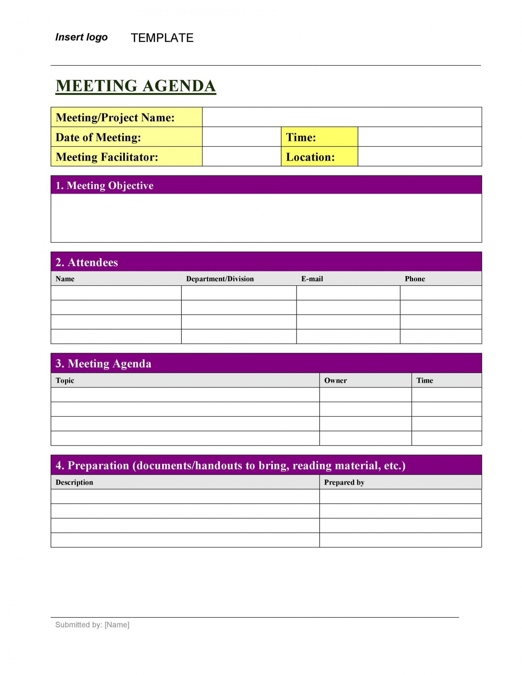Template For Meeting Agenda And Minutes