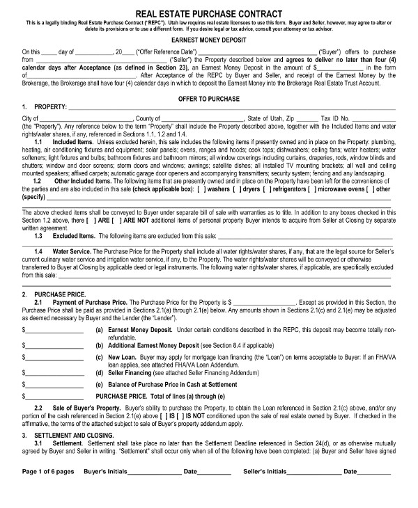 13+ Real Estate Purchase Contract Examples - PDF, Word ...