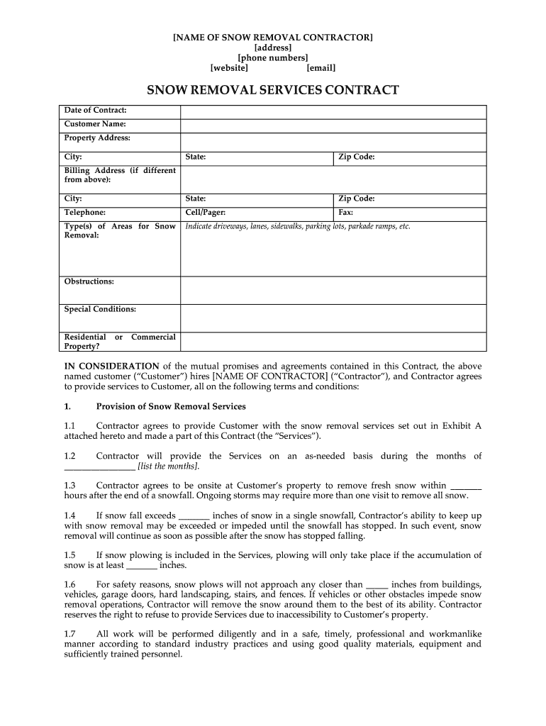 Snow Removal Contract Template - Fill Online, Printable ...