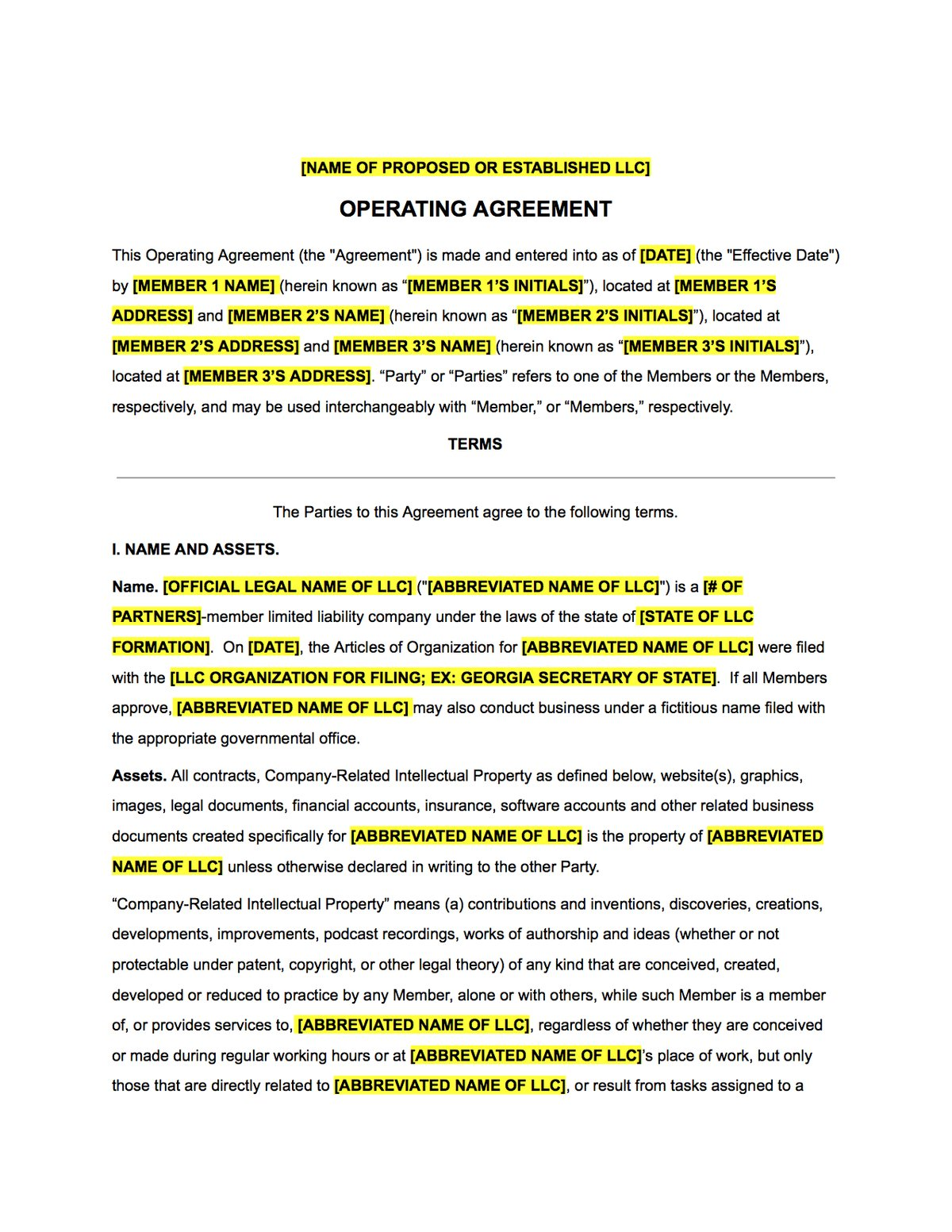 Llc Operating Agreement Contract Template The Contract Shop