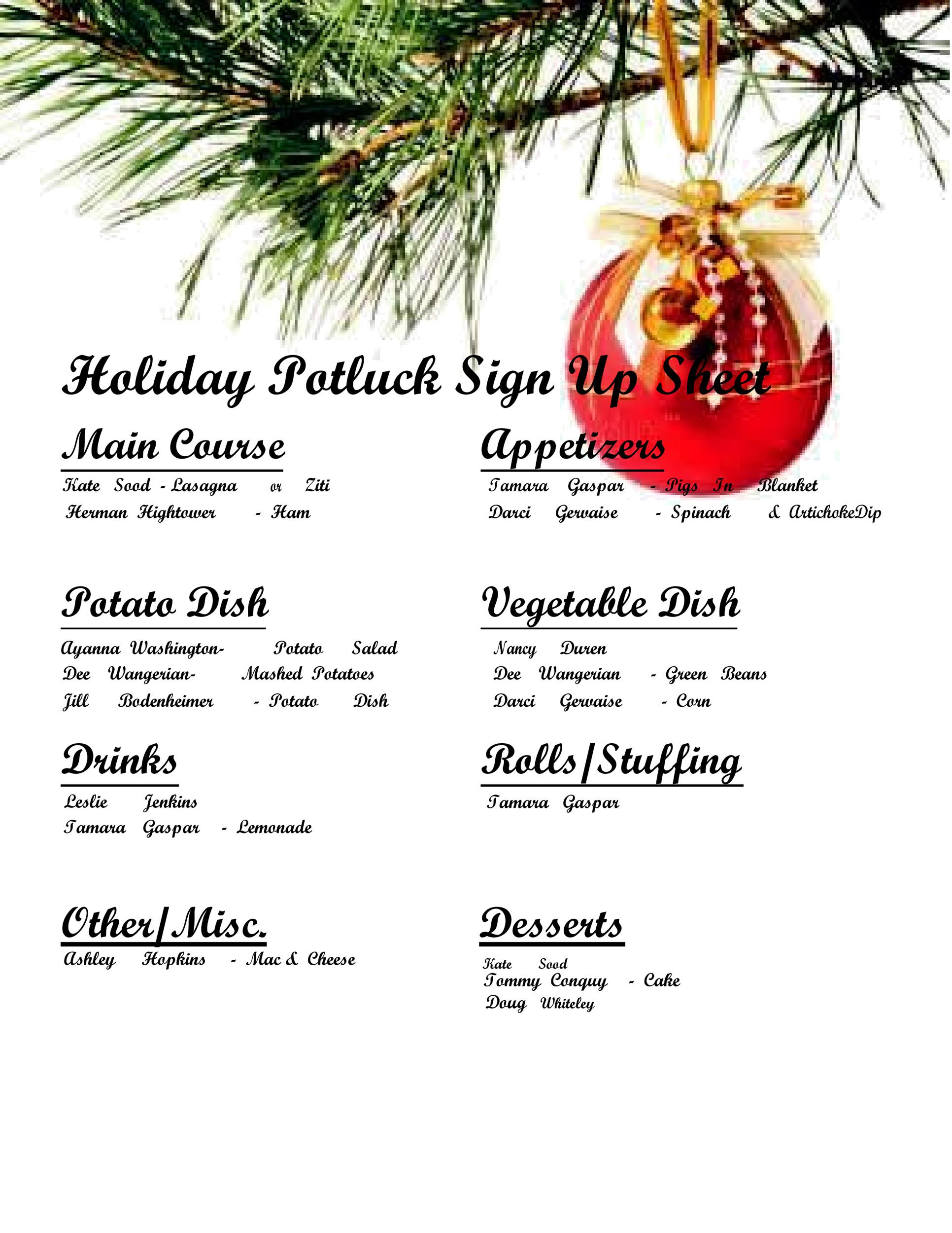 38 Best Potluck Sign Up Sheets For Any Occasion Á… Templatelab