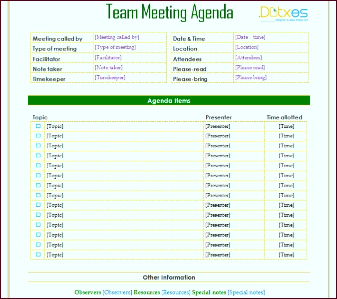 team meeting agenda informal iippu