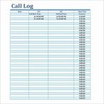 Call Log Format Excel